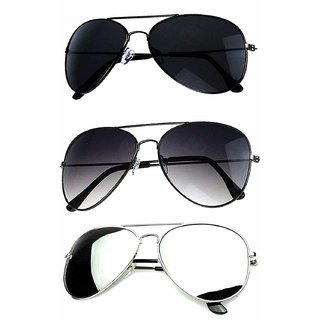 Ivonne Pack Of 3 Unisex Aviator Multicolour Mirrored Unisex Sunglasses