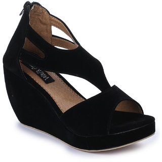 Walkfree suede casual black wedges