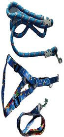 PET CLUB51 HIGH QUALITY COMBO DOG  PRINT HARNESS WO PAD WITH ROPE -XS-BLU-PUPPY DOGS