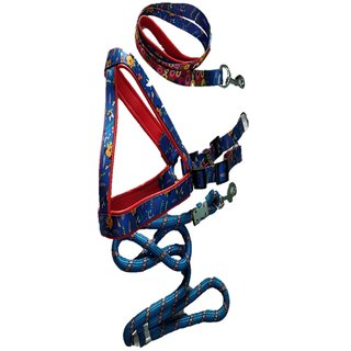 PET CLUB51 HIGH QUALITY COMBO DOG  PRINT HARNESS WO PAD WITH  ROPE -XS-BLUE-PUPPY DOGS