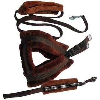 PET CLUB51 HIGH QUALITY COMBO FAR HARNESS -BROWN-SMALL(chest -22-25) DOG