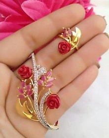 Cooolhim American Diamond Bracelet Ring Combo Set (Free Size)