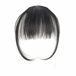 Maahal Clip On Synthetic Front Bang Hair Fringe Hair Extension, Black, Pack Of 1
