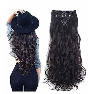 Maahal 6Pcs 14 Clips 24-26 Inch Curly/Wavy Full Head Clip In On Hair Extensions Women Lady Hairpiece (Black)