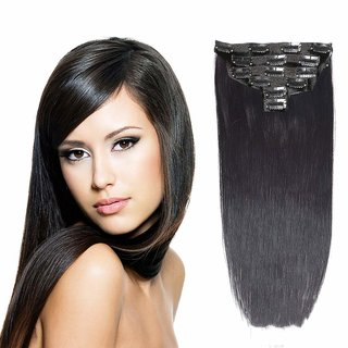 Maahal 6Pcs 14 Clips 24-26 Inch Straight Full Head Clip In On Hair Extensions Women Lady Hairpiece (Black)
