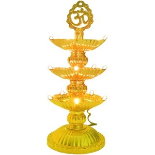 6th Dimensions 3 Layer Electric GOLD LED Diya Deepak Light For Diwali Home Temple decoration Table Lamp  (17 cm, Golden)