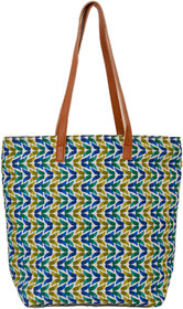 Juteberry Blue Green Printed Tote Bags