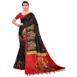 XAYA Black and Red Mysore Silk Printed Casual / Formal Sarees For Women