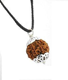 5 Mukhi Rudraksha Silver Cap Pendant With Lab Certified With Black Silk Dori
