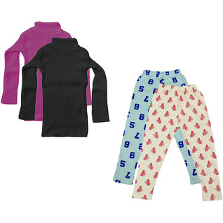 IndiWeaves Girls Winter Wear Woollen High Neck Skivvy and Cotton Leggings (Pack of 4)