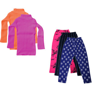 IndiWeaves Girls Winter Wear Woollen High Neck Skivvy and Cotton Leggings (Pack of 5)
