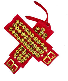 Maroon 3-Line Ghungroo Velvet Pad For Classical Dance With Adjustable Strap