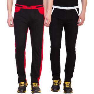 Haoser Solid slim fit sports trackpants men pack of 2, Multicolor gym wear men lower