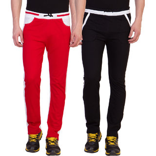 Haoser Solid Cotton mens gym wear lower pack of 2, Trackpant for men multicolor