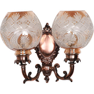 Fos Lighting Antique Copper Finished Traditional 2 Light Wall Sconce with Golden Hand Cut Glass Shades