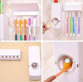 Toothpaste dispenser with toothbrush holder with sticky pad