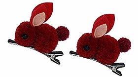 Rabbit hair clip for girls (set of 2) Dark red