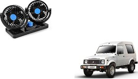 KunjZone  Car Fan 12V 360 Degree Rotatable Dual Head 2 Speed Fan For  Maruti Suzuki Gypsy