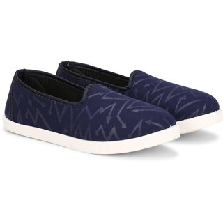 NAMCHEE Women Girl's Designer Soft Comfortable Solid Navy Walking Running Slip On Casuals Bellies Shoes for Women
