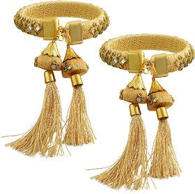 Memoir Gold Plated Brass, Satin Silk Wrapped Kundan Hanging Jhumki Design Bangle Set Women (Pack of 2 Bangles)