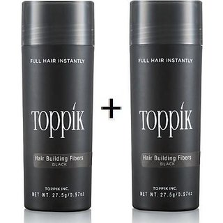 Top-pik Hair Building Fibers 27.5Gm  Dark brown  Color Covers Baldness and Hair Loss  Concealer , Pack of 2 Best forever