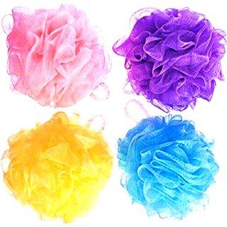 FOXSTON Bath Body Brush Loofah Sponge Nylon Mesh Scrubber Shower Pouf for Men and Women, 35 Gram, Pack of 2 (Plastic)