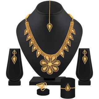 Amazing Flower Shape 1 Gram High Gold Plated Choker Style Brass Necklace Set For Women