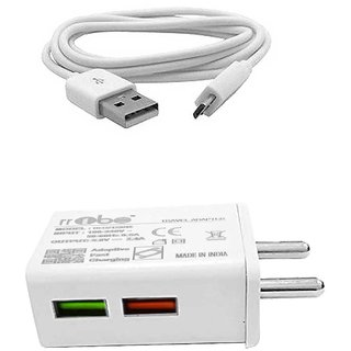 RRTBZ TurboPower 2.4A Fast Travel Charger with Micro USB Cable Mobile Charger Power Adapter Wall Charger  White
