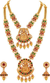 Asmitta Laxmi Gold Plated Red Green Rope Style Temple Necklace Set For Women