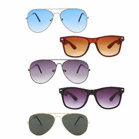 Debonair Pack Of 5 UV Protected Aviator  Wayfarer Sunglasses