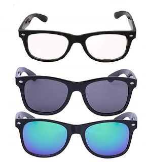 Debonair Pack Of 3 UV Protected Wayfarer Sunglasses (Clear,Black,Blue)