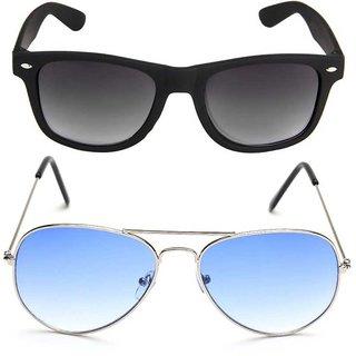 Debonair Combo Of Blue Aviator  Black Wayfarer Sunglasses