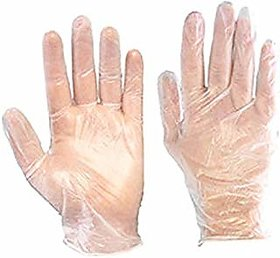 Aabha (100 Pcs) Wet Dry High-Density Multi-Purpose Clear Transparent Eco-Friendly Disposable Plastic Hand Gloves