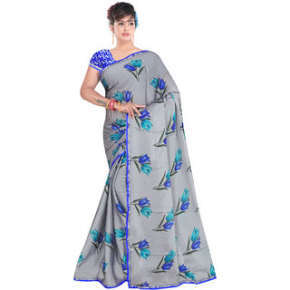 Aurima Georgette floral Printed Casual Wear Saree For Women (Grey)