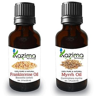 KAZIMA Combo of Frankincense Oil and Myrrh Essential Oil (Each 15ML )- 100 Pure Natural Oil