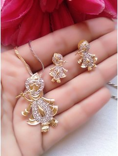 Gold Plated American Diamond Lord Krishna Pendant Set with Earring for Women