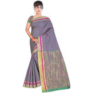 Aurima Womens Cotton Chex Designer Casual Wear Saree with Jari Border