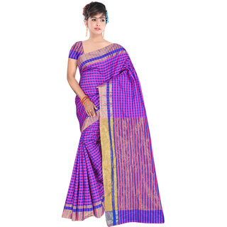 Aurima Womens Cotton Chex Designer Casual Wear Saree with Jari Border