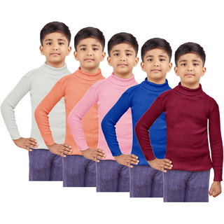 IndiWeaves Boys Wollen Warm High Neck Full Sleeves Skivvy for Winter (Pack of 5)