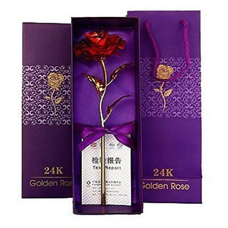 24K red Rose Flower Golden Dipped Valentine's Day With Box Unique Gift/friendship day gift