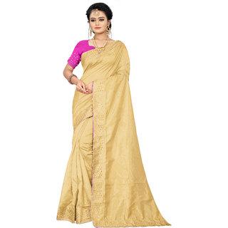 Aurima Womens Joya Silk Festive  Party Wear Saree with Mirror Border