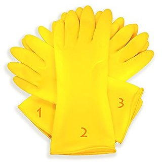 Aabha 3 Pairs Rubber Hand Gloves Reusable Washing Cleaning Kitchen Garden  (Color May Vary)