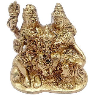 Brass Golden Finish Hindu God Shiv Parivar Handicraft Idol Lord Shiva Family Statue ( Bhole Baba / Mahadev , Parvati , Ganesh , Kartikeya  Nandi) Decorative Spiritual Puja Vastu Showpiece Figurine - Religious Pooja Gift Item  Murti for Mandir / Temple /