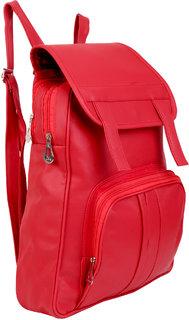 Stylish PU Leather Women Backpack Shoulder Bag College Bag Travel Bag RED