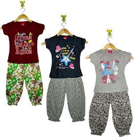 Jisha Baby Girls Gorgeouse Printed Half Sleeve Top Bottom Pant Set of 3