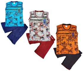 Jisha Boys Round Neck Sleeveless T-Shirt with Shorts Pack of 3