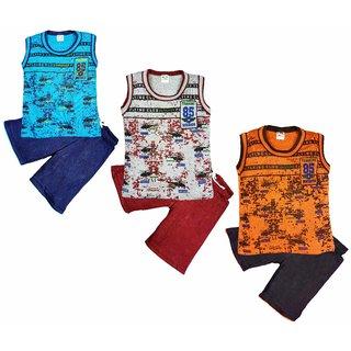 Jisha Boys Round Neck Sleeveless T-Shirt with Shorts Pack of 3