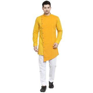 RG Designers Cotton Full Sleeve Gold Designer Cross Kurta With White Churidar For Men