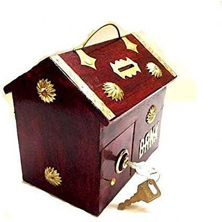 BuyCrafts Red Wooden Money Bank Hut Style Kids Piggy Coin Box Gifts Handmade with Lock