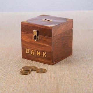 BuyCrafts Wooden Piggy Bank - Money Bank - Coin Box - Money Box - Gift Items for Kids